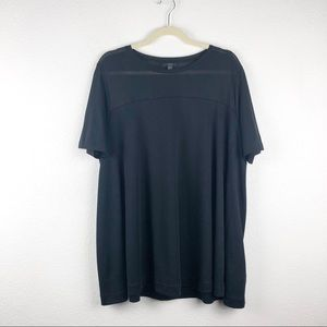 COS Black Sheer Panel Short Sleeve Swing Top L